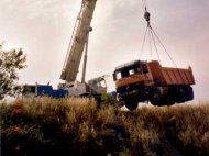 Rescate de camión con pluma
